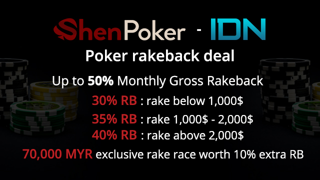 Up to 50% monthly gross rakeback deal at IDN Poker Network
