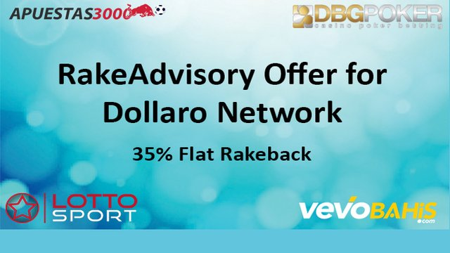 35% Flat Rakeback on Apuestas3000, StarLottoSport, DBG and VevoGaming