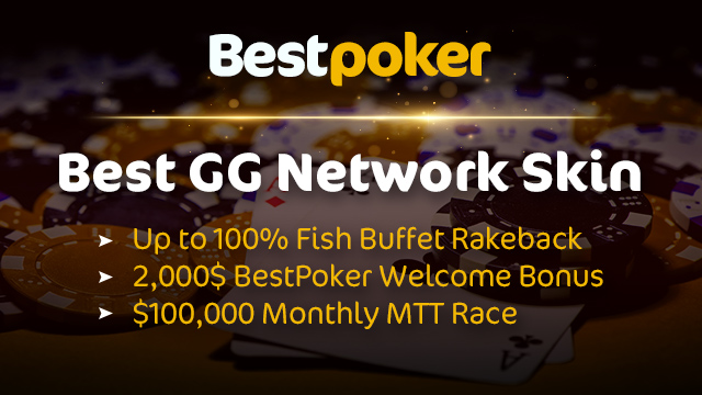 Get 2,000$ Welcome Bonus and up to 100% rakeback at GG Network